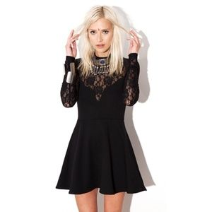 For Love and Lemons Tarot Dress in Black Lace